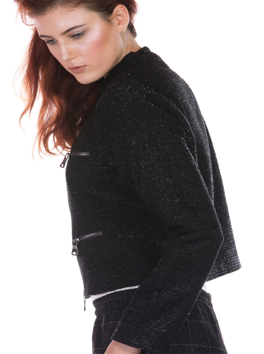 BLACK JACKET WITH ZIPPER