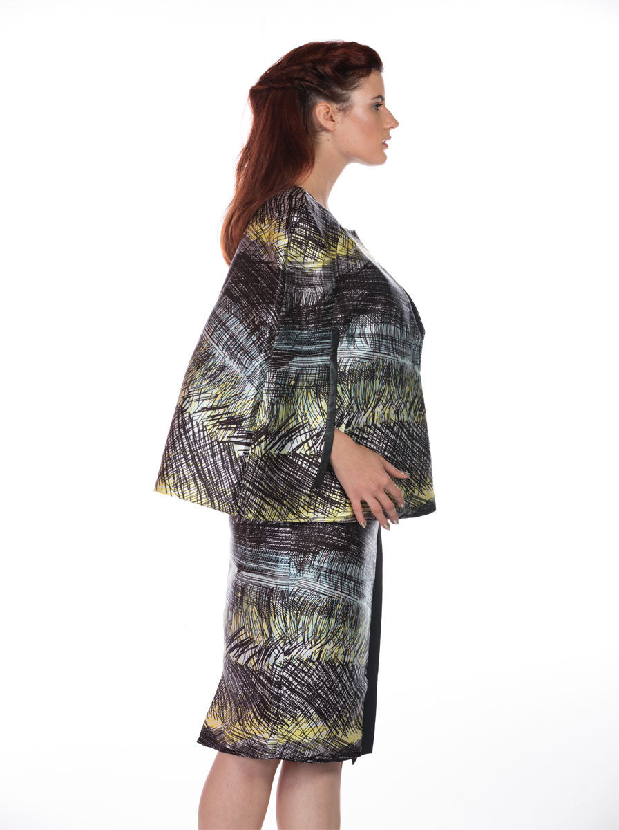 GREEN PRINTED CAPE