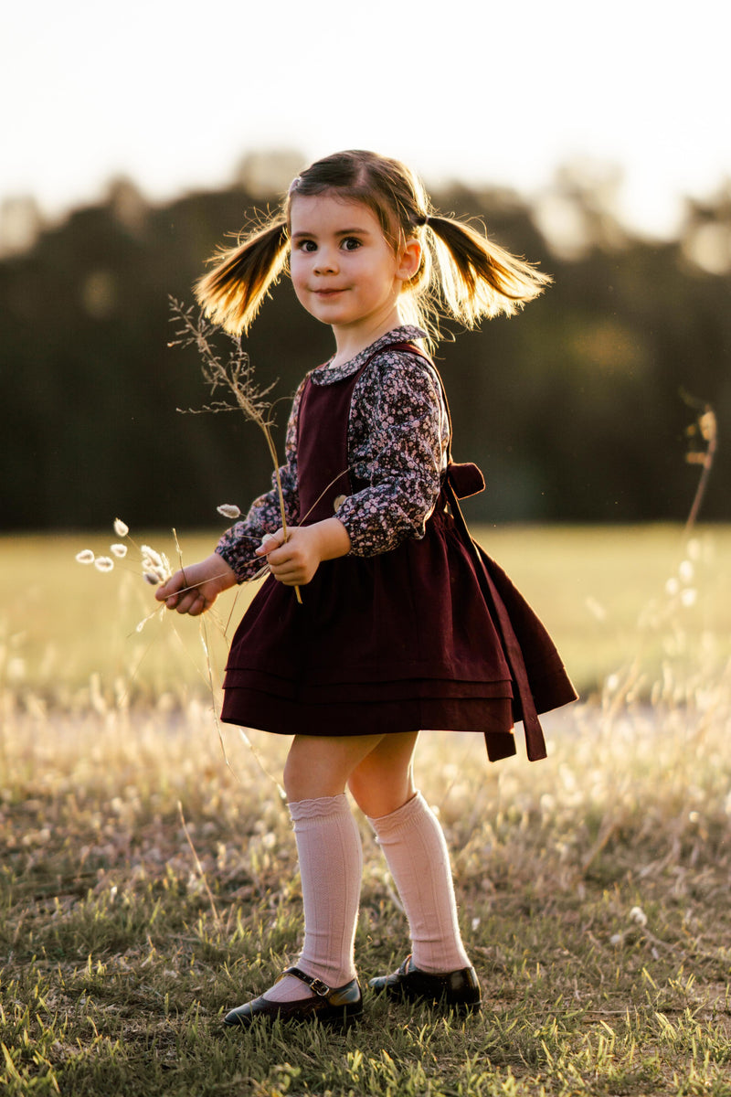 Essentials Pinafore dress in Burgundy