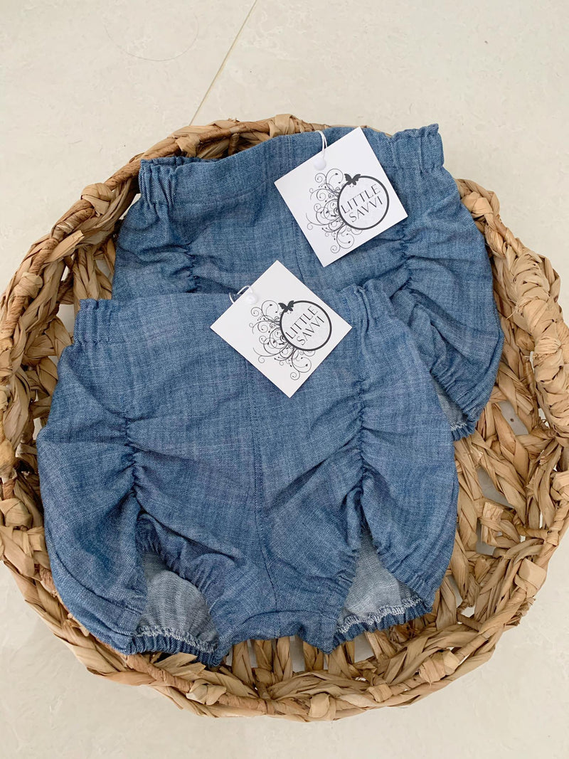 Denim ruched shorts size 1 & 2