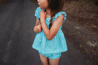 Gingham Flutter top & shorts set