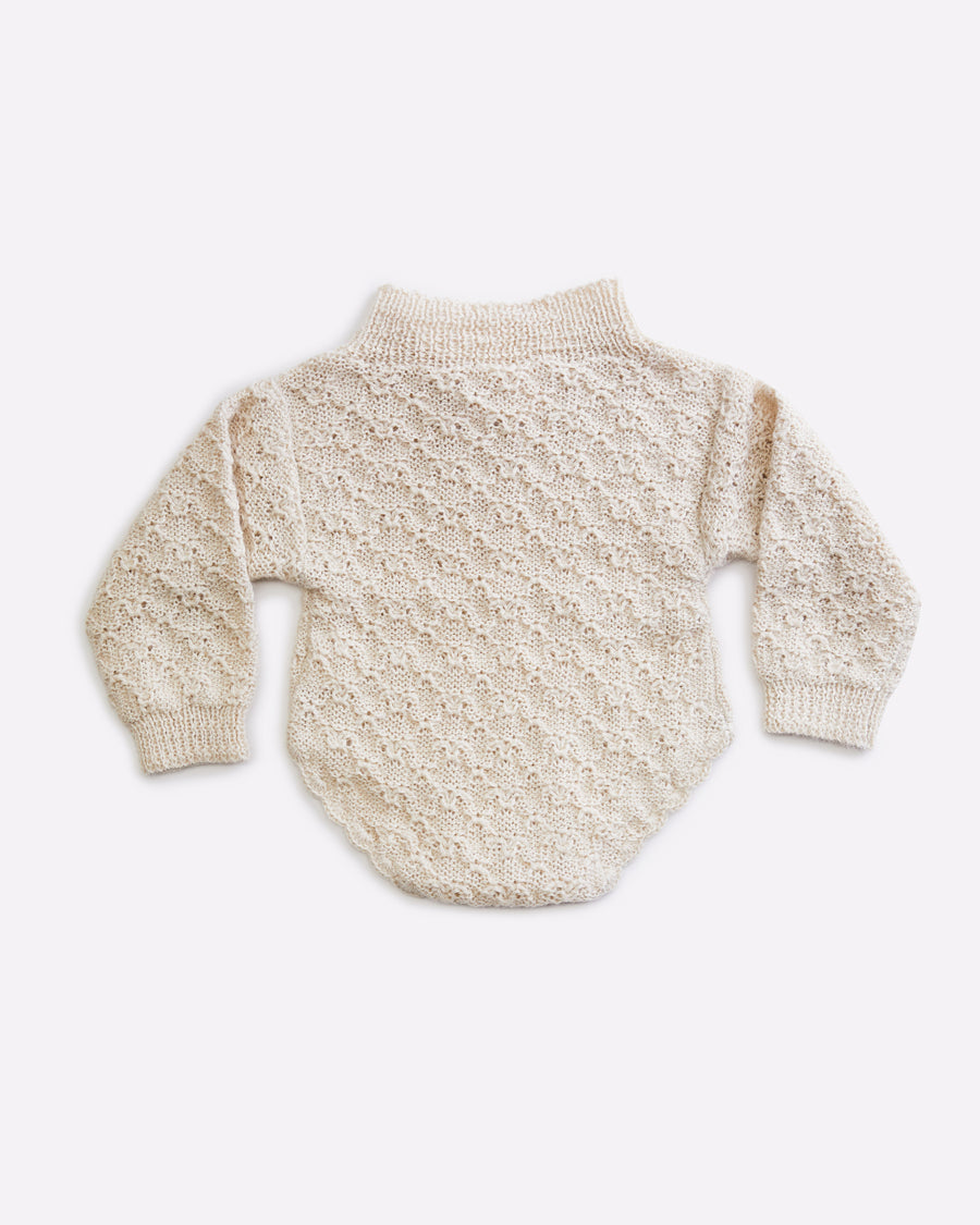 Fern Long sleeved knit romper - Cloud
