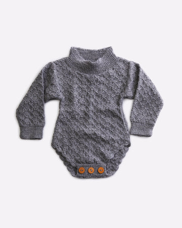 Fern Long sleeved knit romper - Grey