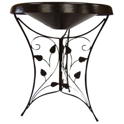Heated Bird Bath - Ivy Leaf Pedestal (Black)