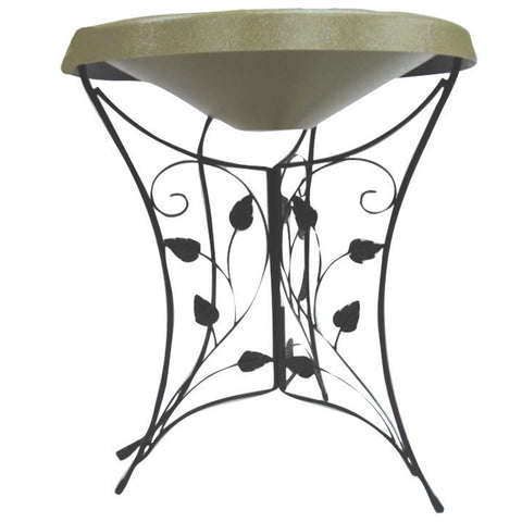 Ivy Leaf Pedestal Heated Bird Bath In Green