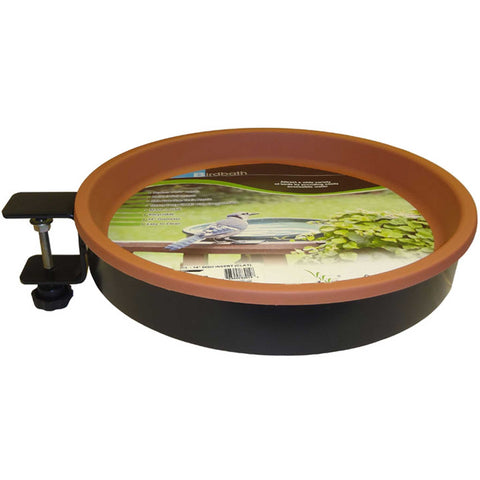 Bird Bath With Metal Band & Terra-Cotta Tub - Clamp Mount