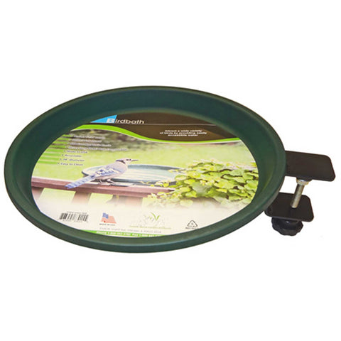 Bird Bath With Steel Ring, Clamp Mount (Green)