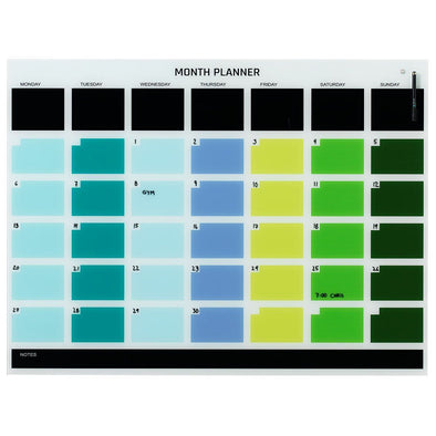 NAGA Coloured Glassboard Month Planner: Large