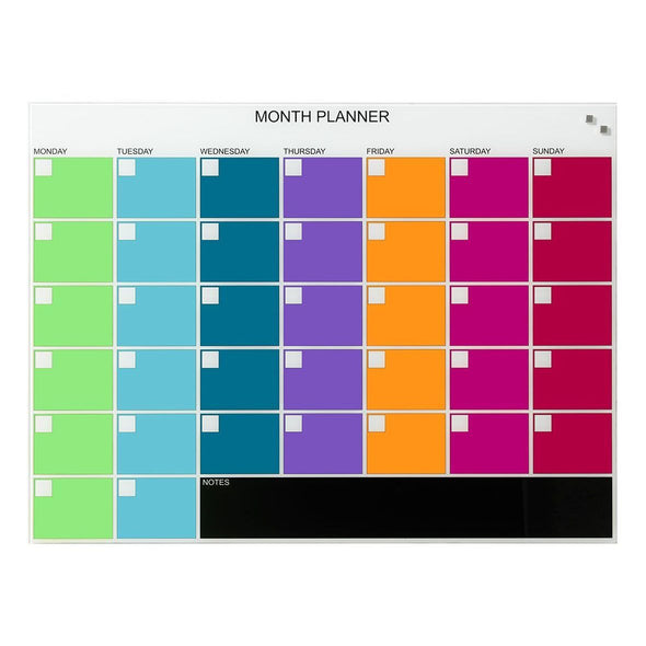 NAGA Coloured Glassboard Month Planner: Medium