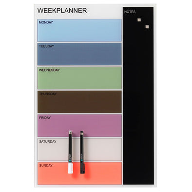 NAGA Coloured Glassboard Week Planner