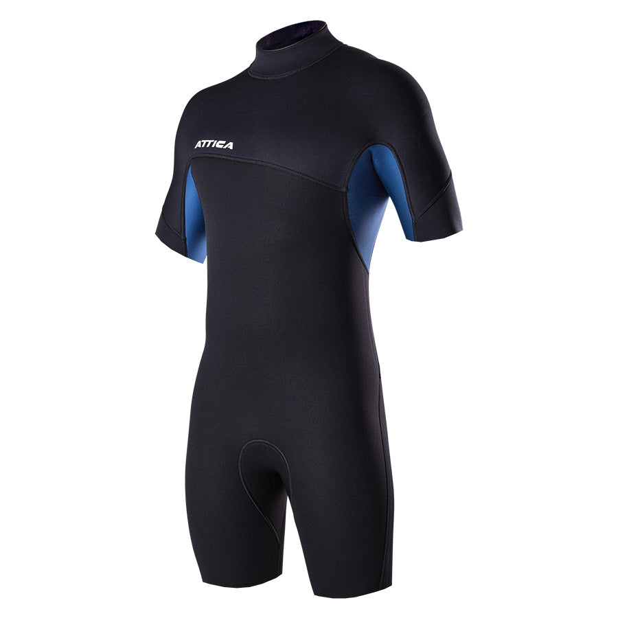 DELTA Short Sleeve Back ZIP 2/2MM Spring - BLACK / IODINE - ATTICA Wetsuits