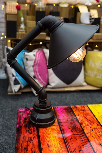 Desk Lamp - Industrial Iron Water Pipe - Work Home Play