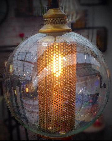 Golden Spherical Dome - Hanging Light - Work Home Play