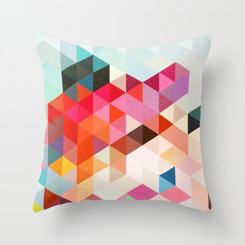 Cushion Cover - Geometric Bright Pastels - Work Home Play
