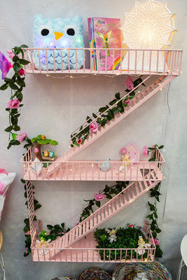 Loft Staircase Shelf - Fire Escape PINK - Work Home Play
