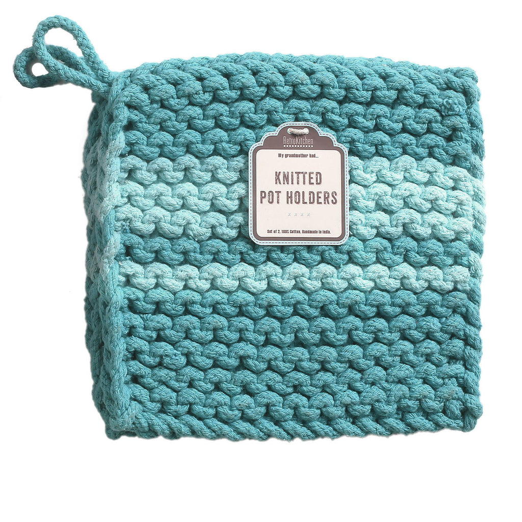 Retro Kitchen - Knitted Pot Holders/ Cloth Trivet - Teal - Work Home Play