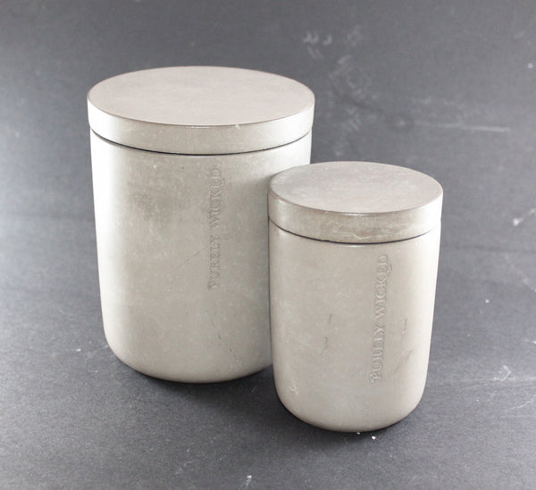 Concrete Vessel complete with Refillable Candle - Purely Wicked - Work Home Play