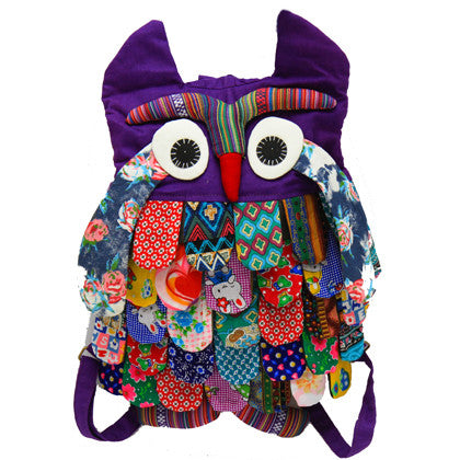 Owl Bag Backpack - Large, Purple - Work Home Play