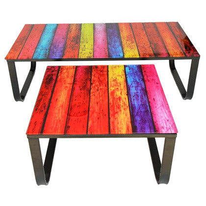Rainbow Glass Coffee Table - Work Home Play