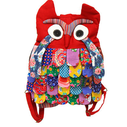 Owl Bag Backpack - Large, Red - Work Home Play