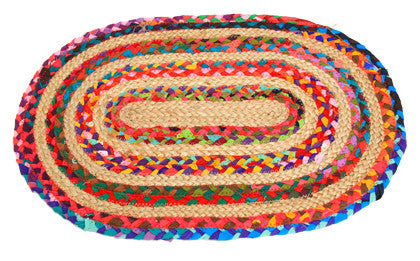 Rug Braided Cotton/Jute Oval - Work Home Play