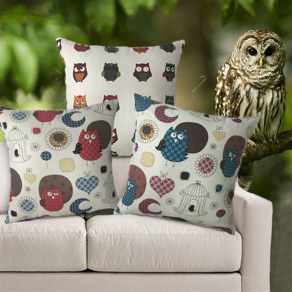 Cushion - Night Owls, Aqua - Work Home Play