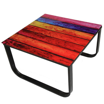 Rainbow Glass Small Coffee Table