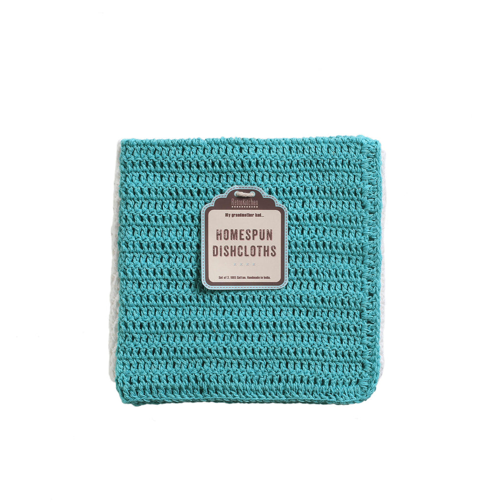 Retro Kitchen - Crocheted Dish Cloth Set - Teal/ White - Work Home Play