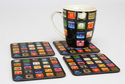 Apps - Coasters, Set of 4 - Work Home Play