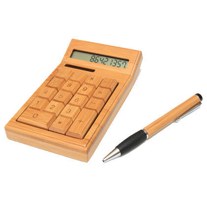 Bamboo Solar Calculator & Bamboo Pen Gift Pack - Work Home Play