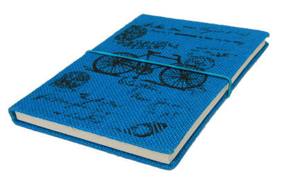 Journal, Jute - Blue Bicycle - Work Home Play
