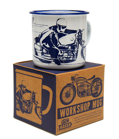 Cafe Racer Workshop Mug - Blue