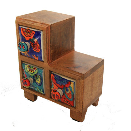 Timber Chest with Ceramic Drawers - Work Home Play