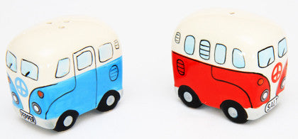 "Salt & Pepper Shakers - Blue & Red Kombi /Combi with ""Peace"" Design - Work Home Play"