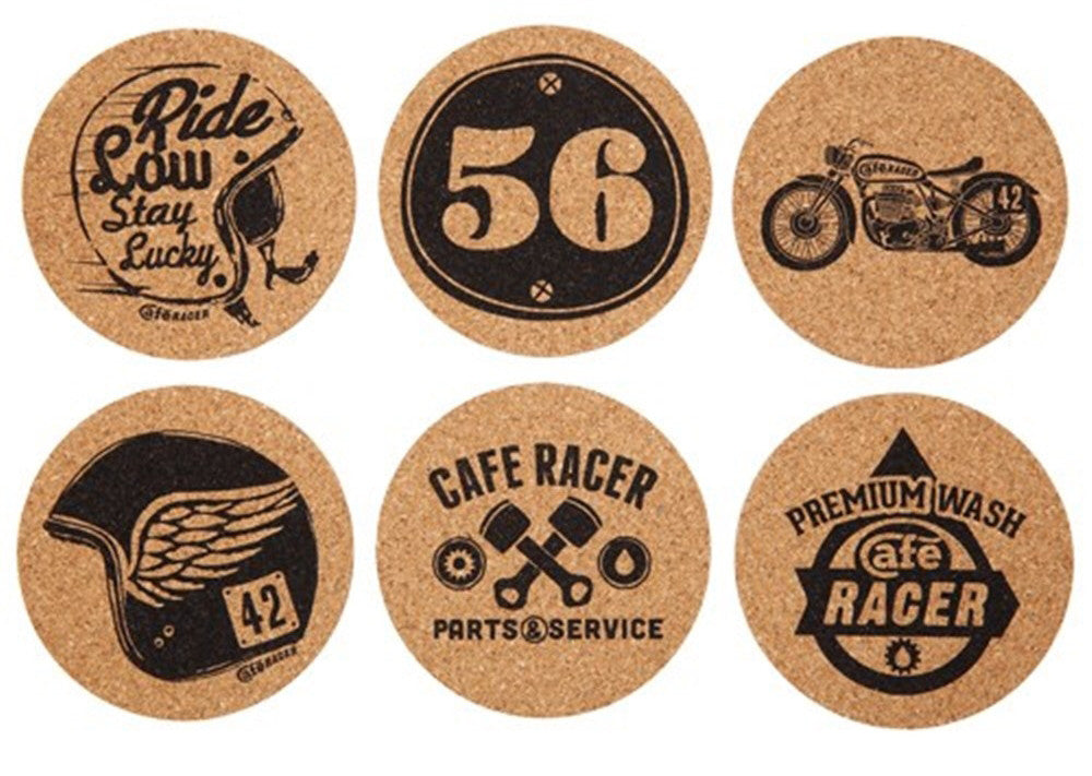 Cafe Racer - Cork Coaster Set - Work Home Play