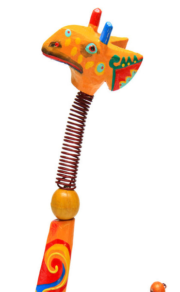Giraffe Scuplture - Colourful Wooden Beads and Wire Sculpture - Work Home Play