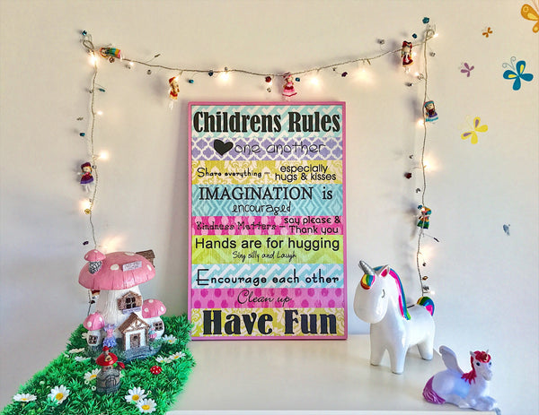 Wall Decor - Childrens Fun Sign - Work Home Play