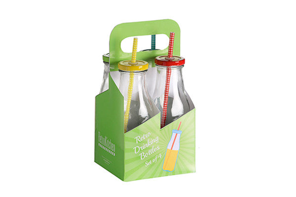 Retro Drink Bottles - Set of 4 - Work Home Play