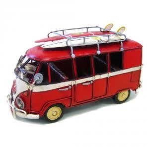 Kombi (Red) Model Replica with Surfboards - Work Home Play