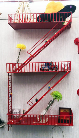 Loft Staircase Shelf - Fire Escape RED - Work Home Play