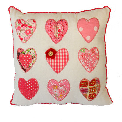 Cushion - Button Flower Hearts - Work Home Play