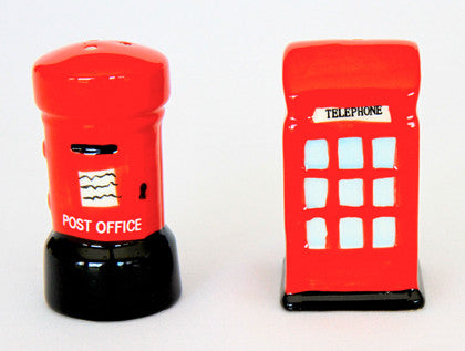 Salt & Pepper Shaker Set - Red British Phone & Post Box - Work Home Play