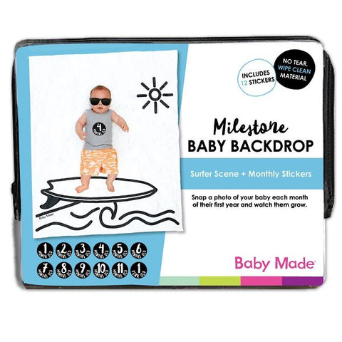 Milestone Baby Backdrop – Surfer Scene - Work Home Play