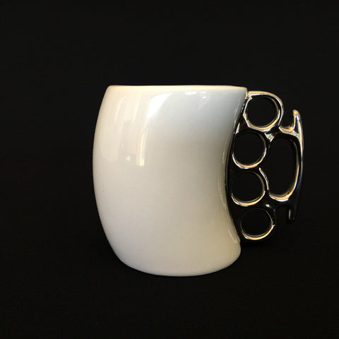 Fist Mug - White Gloss Ceramic - Work Home Play