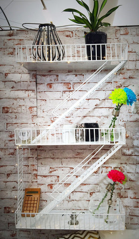 Loft Staircase Shelf - Fire Escape WHITE
