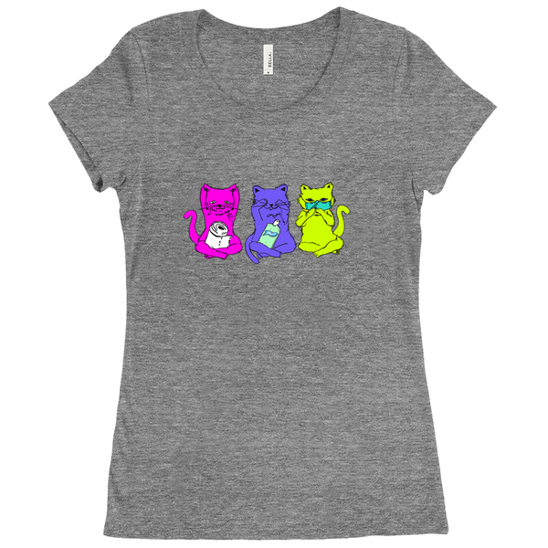 3 Wise Cats Tri-Blend T-Shirts