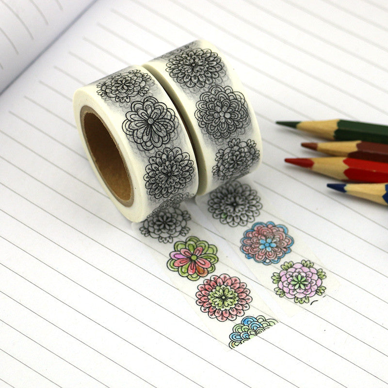 Washi tape - Colouring Flower Power