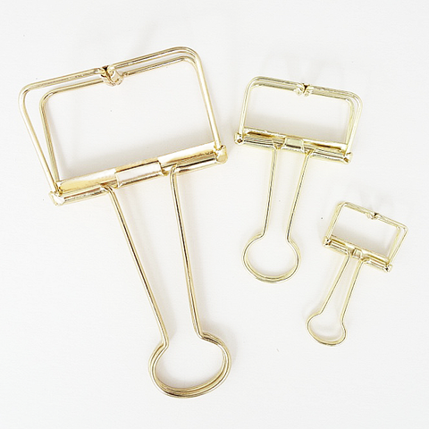 Skeleton Binder Clips (Gold)