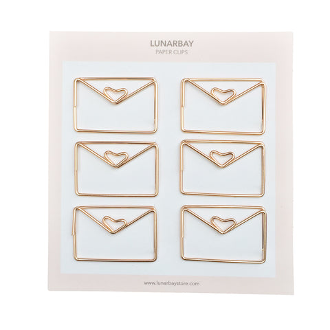 Paper Clips Envelope - Set of 6 (Rose Gold)