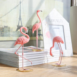 Flamingo figurine with gold plated metal base